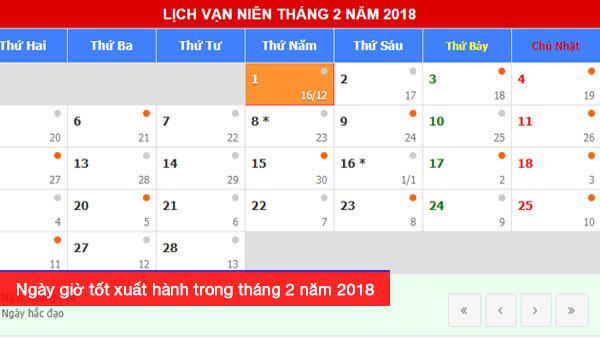 Xem ngày giờ tốt xuất hành theo tuổi trong tháng 2 năm 2018 Mậu Tuất