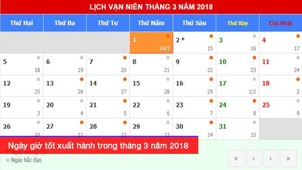 Xem ngày giờ tốt xuất hành theo tuổi trong tháng 3 năm 2018