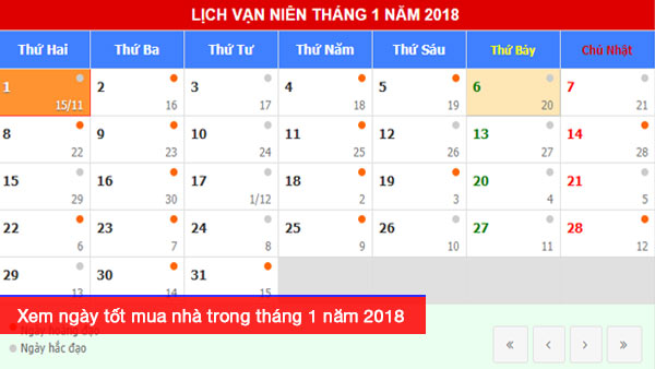 Xem ngày tốt mua nhà trong tháng 1 năm 2018 Mậu Tuất
