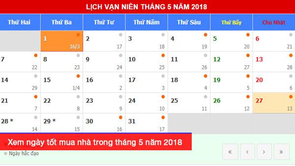 Xem ngày tốt mua nhà trong tháng 5 năm 2018, tháng 5 có ngày nào đẹp hợp tuổi
