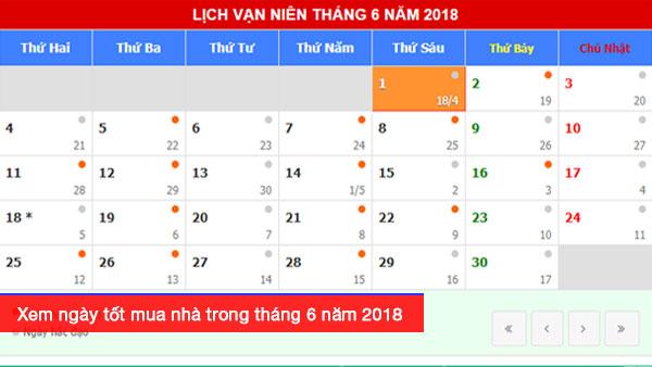 Xem ngày tốt mua nhà trong tháng 6 năm 2018 Mậu Tuất