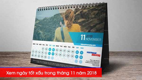 Xem ngày tốt xấu trong tháng 11 năm 2018