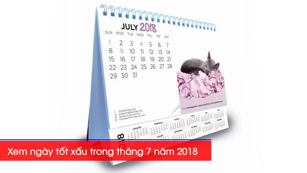 Xem ngày tốt xấu trong tháng 7 năm 2018 Mậu Tuất