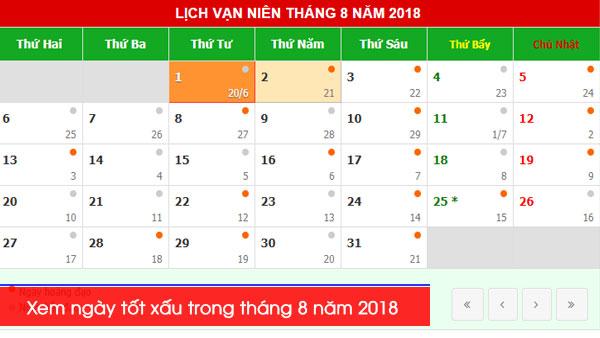 Xem ngày tốt xấu trong tháng 8 năm 2018