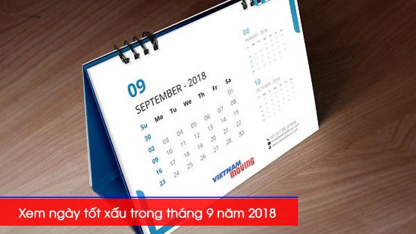Xem ngày tốt xấu trong tháng 9 năm 2018