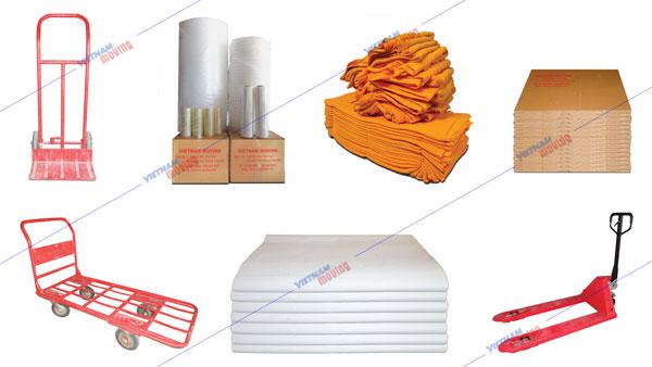 Một số phụ liệu và thiết bị được Vina Moving sử dụng đóng gói và vận chuyển