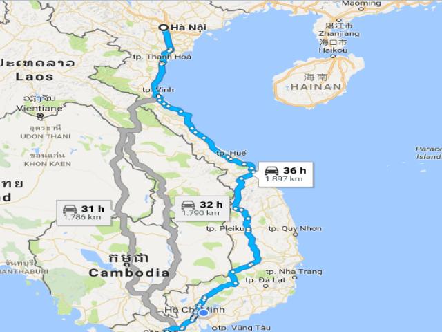 Từ Hà Nội đi Bạc Liêu bao nhiêu km?