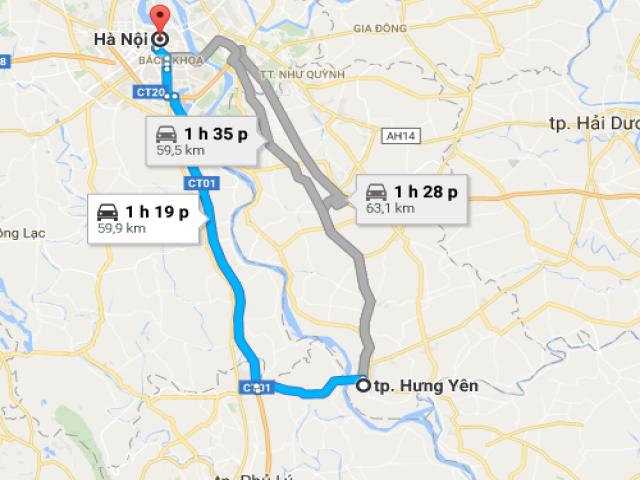 Từ Hà Nội đi thành phố Hưng Yên bao nhiêu km?