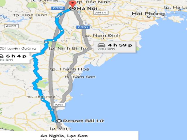 Từ thủ đô Hà Nội đi Bãi Lữ bao nhiêu km?