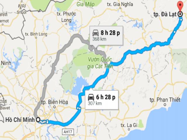 Từ Thành Phố Hồ Chí Minh đi Thành Phố Đà Lạt bao nhiêu km?