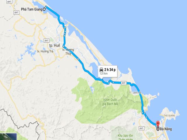 Từ Đà Nẵng đi Phá Tam Giang bao nhiêu km?
