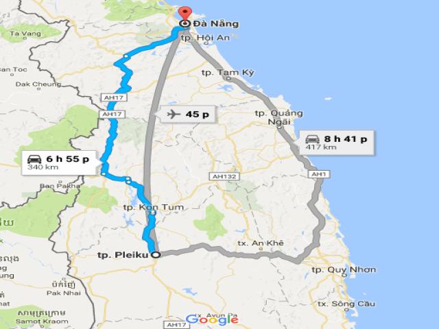 Từ Đà Nẵng đi Pleiku – Gia Lai bao nhiêu km?
