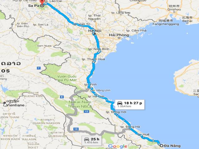 Từ  Đà Nẵng đi Sapa bao nhiêu km?