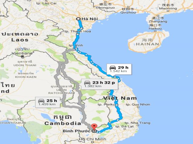 Từ Hà Nội đi Bình Phước bao nhiêu km?