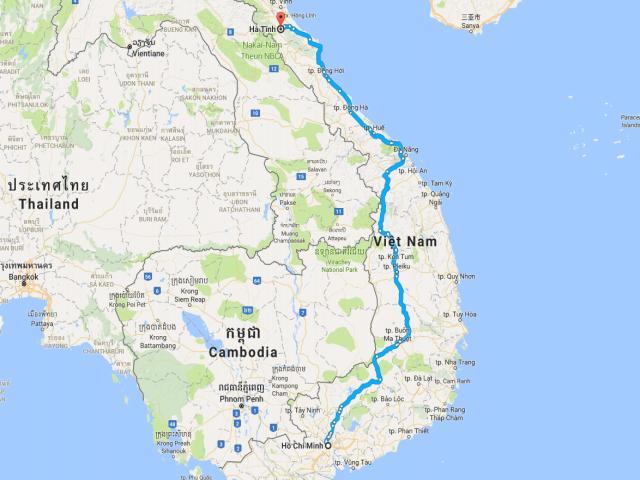 Từ TPHCM đi Hà Tĩnh bao nhiêu km