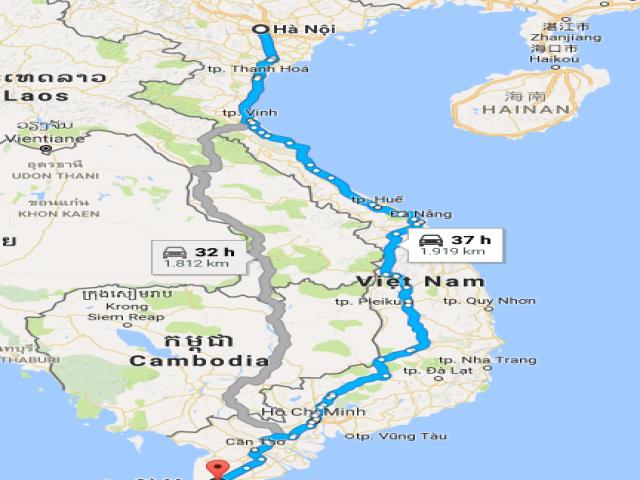 Từ Hà Nội đi Cà Mau bao nhiêu km?