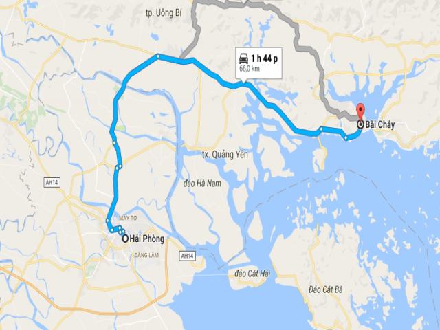 Từ Hải Phòng đi Bãi Cháy bao nhiêu km?