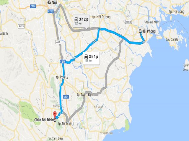 Từ Hải Phòng đi Bái Đính bao nhiêu km?