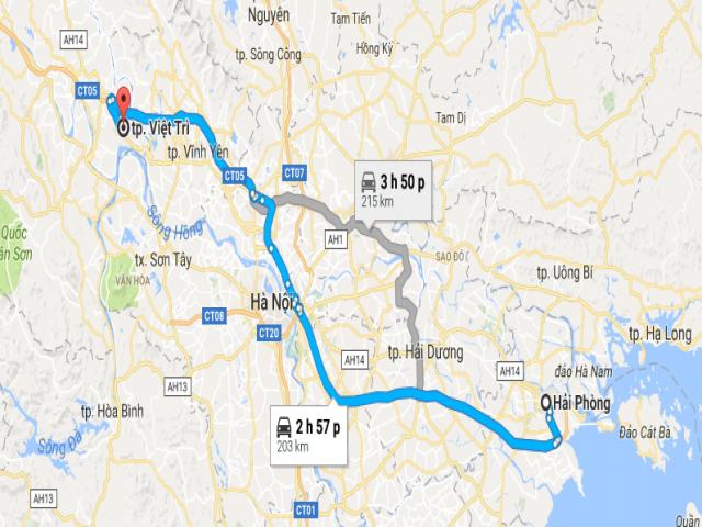 Từ Hải Phòng đi Việt Trì bao nhiêu km?