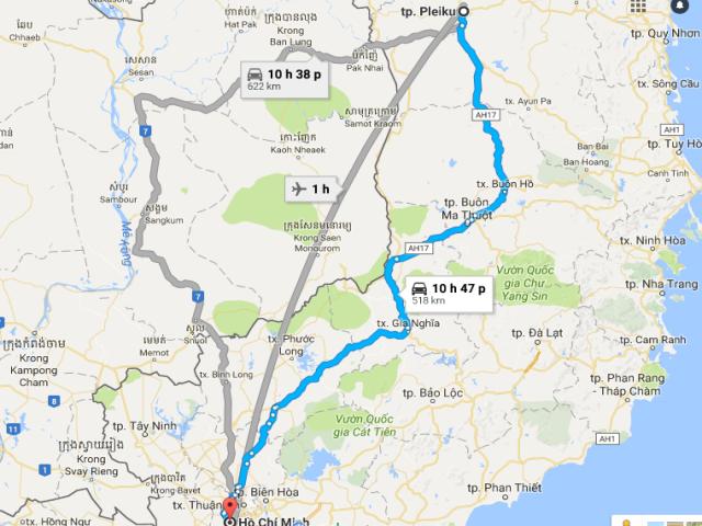 Từ TPHCM đi Gia Lai bao nhiêu km?