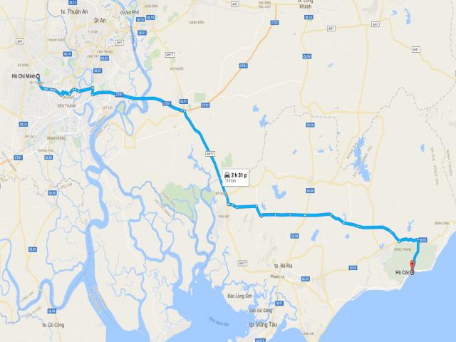 Từ TPHCM đi Hồ Cốc bao nhiêu km?