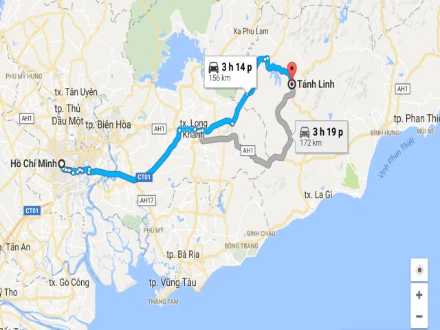 Từ TPHCM đi Tánh Linh bao nhiêu km?