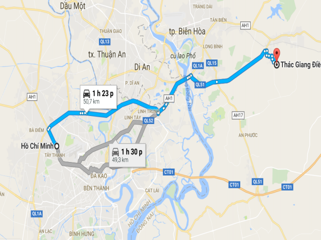 Từ TPHCM đi thác Giang Điền bao nhiêu km?