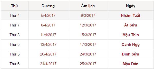 Xem ngày tốt chuyển nhà tháng 4 năm 2017