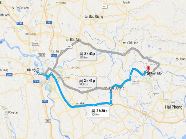 Từ Hà Nội đi Kinh Môn – Hải Dương bao nhiêu km?