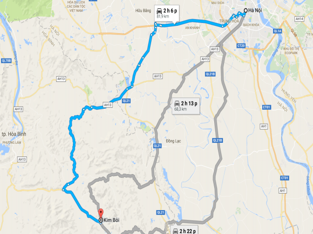Từ Hà Nội đi Kim Bôi bao nhiêu km?