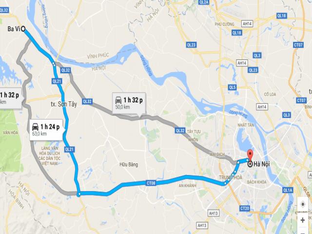 Từ Hà Nội đi Ba Vì bao nhiêu km?