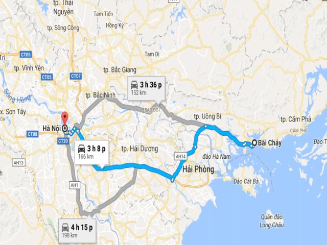Từ Hà Nội đến Bãi Cháy bao nhiêu km?
