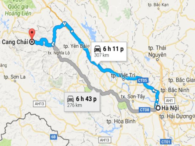 Từ Hà Nội đi Mù Cang Chải bao nhiêu km?