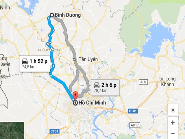 Từ TPHCM đi Bình Dương bao nhiêu km?