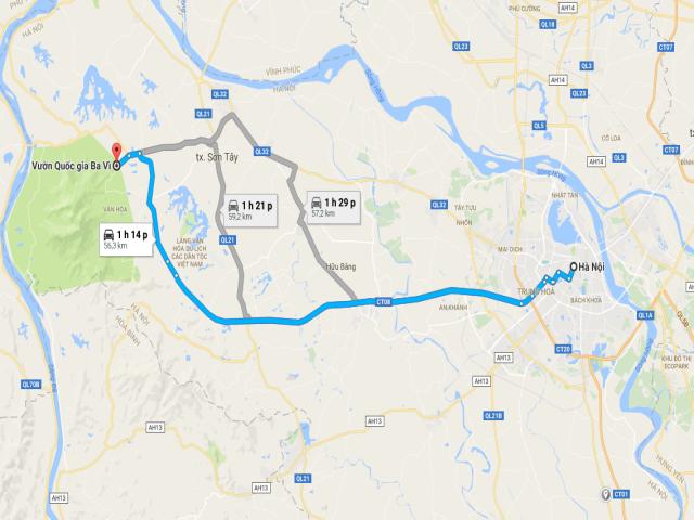 Từ Hà Nội đi Vườn Quốc gia Ba Vì bao nhiêu km?