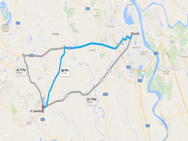 Từ Hà Hội đi Xuân Mai bao nhiêu km?