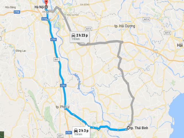 Từ Hà Nội đi Thái Bình bao nhiêu km?