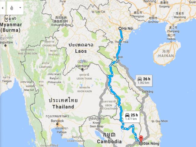 Từ Hà Nội đi Đắk Nông bao nhiêu km?