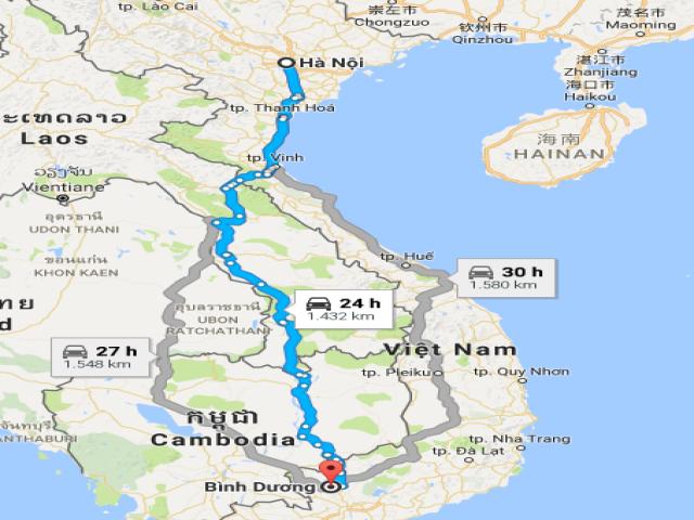 Từ Hà Nội đi Bình Dương bao nhiêu km?