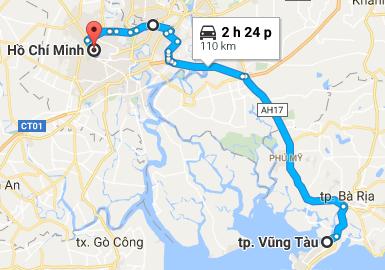 Từ TP Hồ Chí Minh đi Vũng Tàu bao nhiêu km?