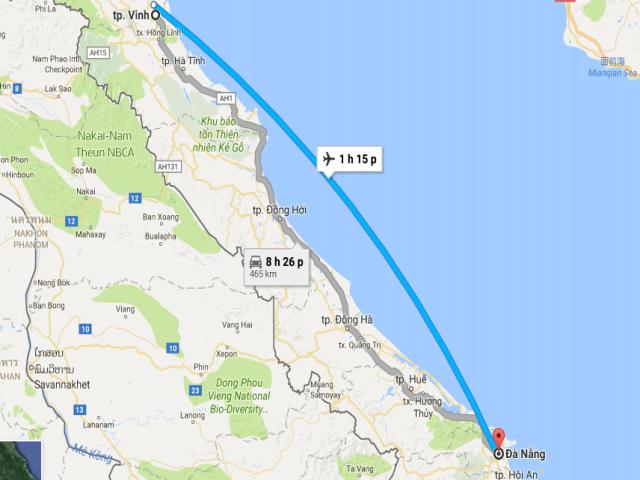 Từ Đà Nẵng đi thành phố Vinh – Nghệ An bao nhiêu km?
