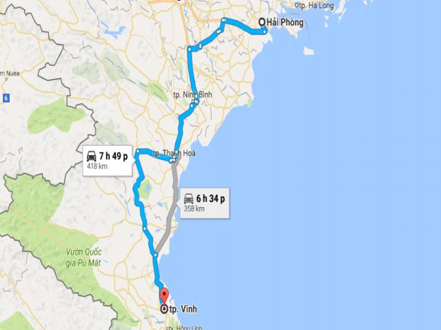 Từ Hải Phòng đi Vinh bao nhiêu km?