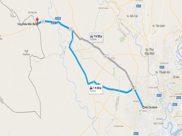 Từ TPHCM đi cửa khẩu Mộc Bài bao nhiêu km?