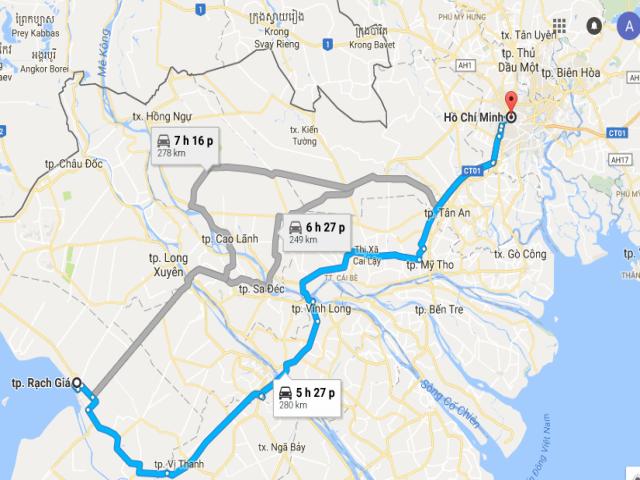 Từ TPHCM đi Rạch Giá bao nhiêu km?