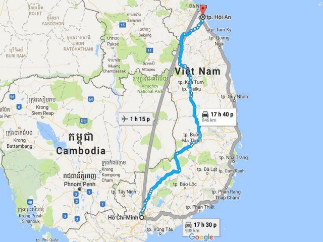 Từ TPHCM đi Hôi An bao nhiêu km?