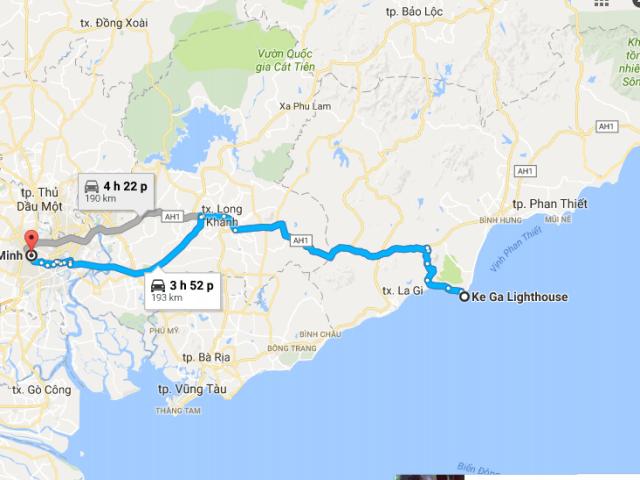 Từ TPHCM đi Mũi Kê Gà bao nhiêu km?