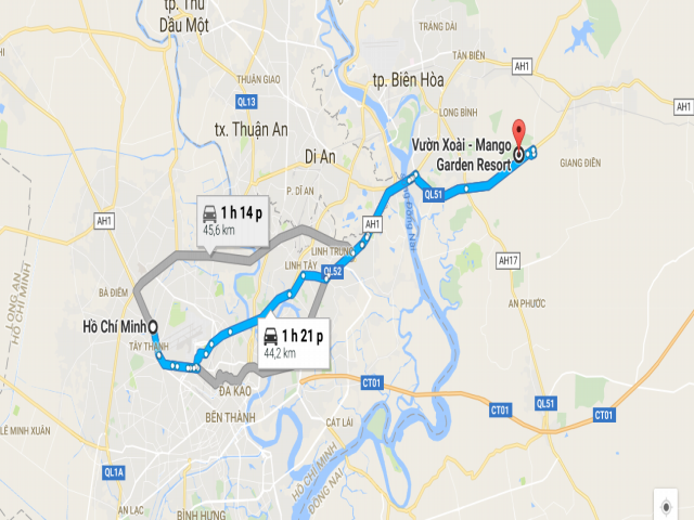 Từ TPHCM đi Vườn Xoài – Đồng Nai bao nhiêu km?
