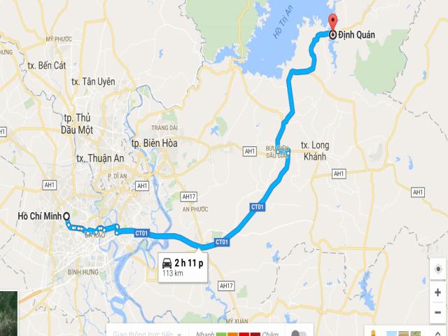 Từ TPHCM đi Định Quán- Đồng Nai bao nhiêu km?