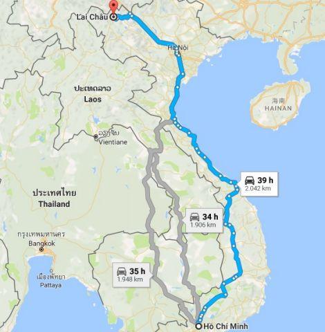 Từ tphcm đi lai châu bao nhiêu km?