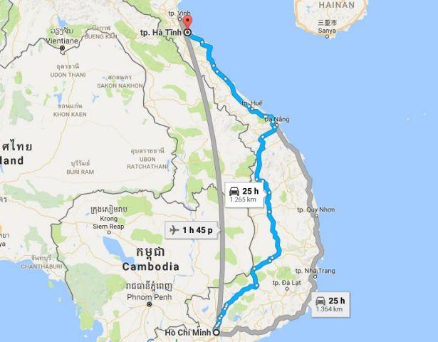 Từ tphcm đi hà tĩnh bao nhiêu km?